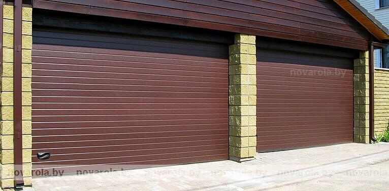 Секционные коричневые ворота.